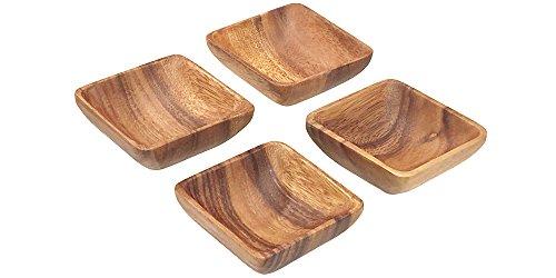 Pacific Merchants Trading Acaciaware Square Sauce Bowls 4 x 4 x 15 Set of 4