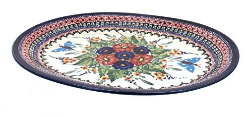 Polish Pottery Floral Butterfly Large Oval Serving Platter