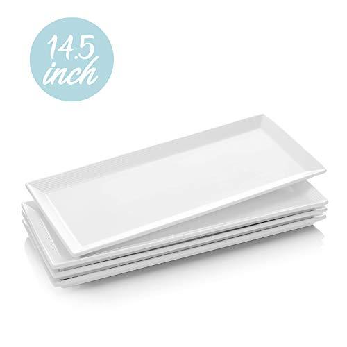 Krockery Large Porcelain Serving Platters White Plates Rectangular Serving Trays for Parties - 145 Inch Set of 4
