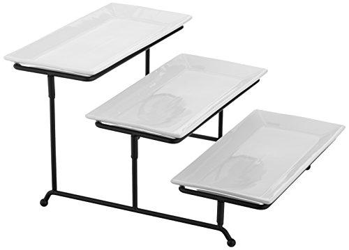 Tiered Serving Set - Thicker Adjustable Sturdy Metal Rack - 3-Tier White Porcelain 12 x 6 Platter Set White Porcelain 3-Tier