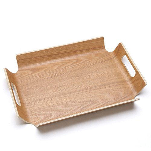 MLMHLMR Fruit Basket Snack Tray Rectangular Wooden Tray Tea Tray Two Colors Optional fruit dish Color  A