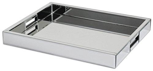 Intelligent Design Modern Mirrored Glass Serving Tray  Decorative Bar Handles