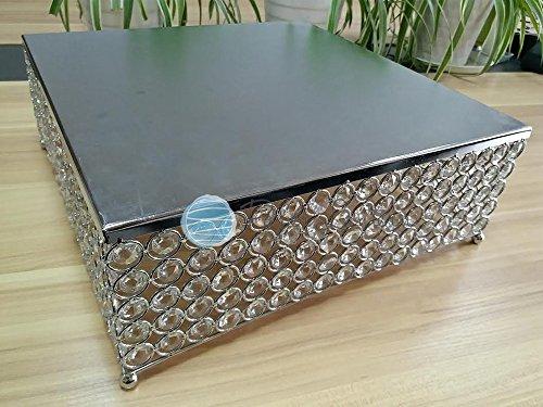 PaperLanternStorecom Designer Crystal Stainless Steel Cake Stand - 14 x 59 Inch Square Bejeweled