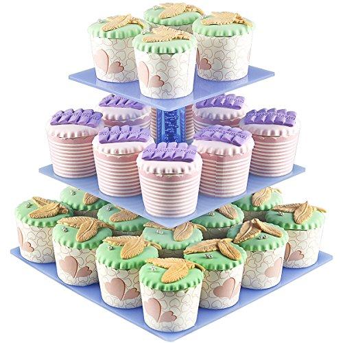 Cupcake Displays 3 Tier Acrylic Cupcake Display Stands For Wedding Birthday PartiesHolder 28 pcs Cup Cakes  Square Racks  Mini Tower Tree Reusable