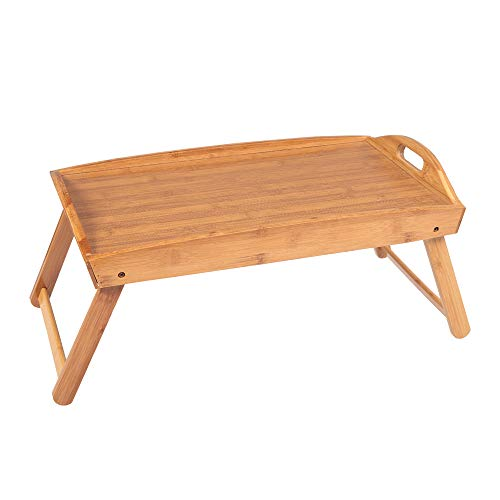 Luluman Foldable Curved Breakfast Tray Table Portable Folding Table Serving Desk Tray loor Coffee DeskBook Tray of Readers Burly Wood