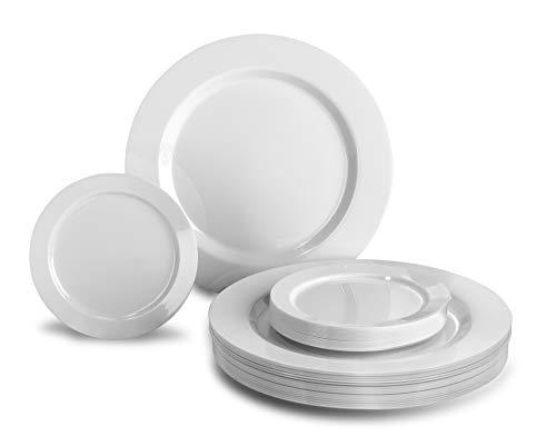 OCCASIONS 240 Plates Pack Heavyweight Premium Disposable Plastic Plates Set 120 x 105 Dinner  120 x 625 DessertCake Plates Plain White