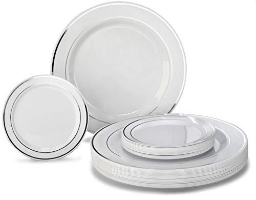 OCCASIONS 240 Plates Pack Heavyweight Premium Disposable Plastic Plates Set 120 x 105 Dinner  120 x 625 DessertCake Plates White Silver Rim