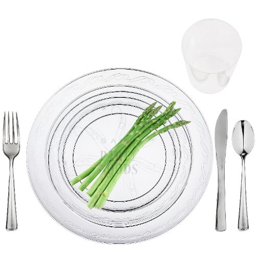 100 Full Table Settings Party Package Elegant Disposable Clear Plates - Cups - Cutlery