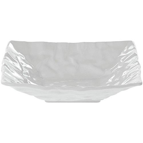 Elite Square Crinkled Paper White Melamine Platter - 12L x 12W x 1 14H