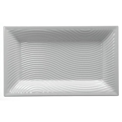 Elite White Melamine Platter Triangular Ribbed 15 34L x 12 12W x 1 18H