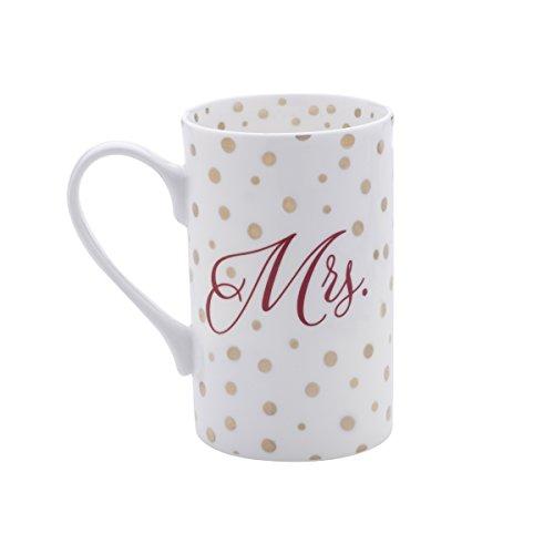Mikasa Bone China Coffee Mug 16-Ounce Dots Mrs WhiteRedGold