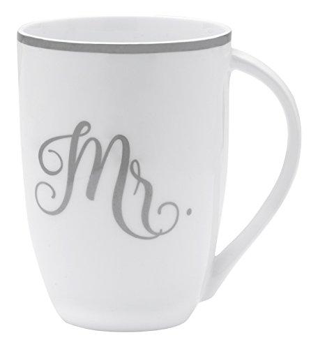 Mikasa Bone China Coffee Mug 16-Ounce Mr WhiteGrayPlatinum
