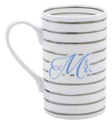 Mikasa Bone China Coffee Mug 16-Ounce Striped Mr WhiteBlueGold