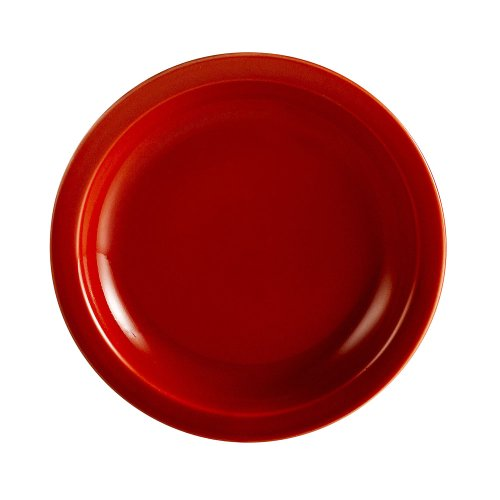 CAC China L-16NR-R Las Vegas Narrow Rim 10-12-Inch Red Stoneware Plate Box of 12