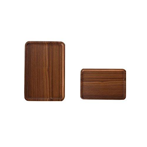 Jili Online 2Pcs Chic Wooden Tea Serving Fruit Trinket Storage Tray Plates ML Platters