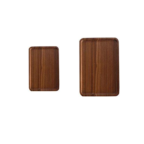 MagiDeal 2 Wooden Serving Tray with Handle Serving Tea Breakfast Kitchen Platter ML