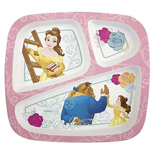 Zak Designs 3-Section Plate featuring Disney Princess Belle Break-resistant and BPA-free Plastic