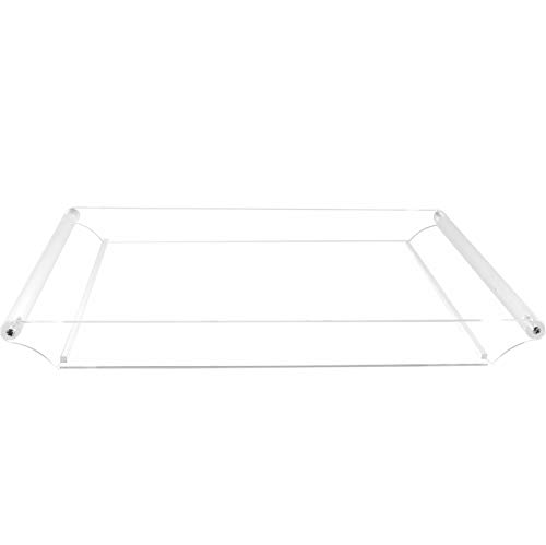 Cq acrylic Clear Serving Tray-16 x12 Large Acrylic Tray for Coffee Breakfast Tea Food Butler-Decorative Display TrayCountertop Decorative TrayVanity Tray with Handles