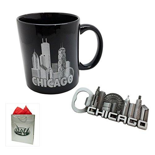 Chicago Holiday Present Gift Set - Mug w Pewter Chicago Skyline and Skyline Magnetic Bottle Opener - Gift Bag Included
