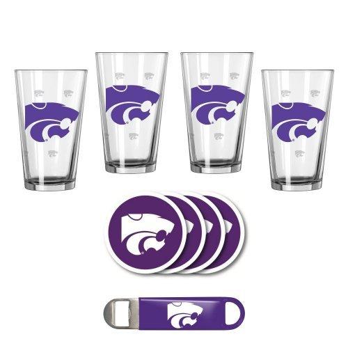 NCAA Kansas State - Pint Glasses Coasters Bottle Opener Set  KSU Wildcats Party Pack Gift Set