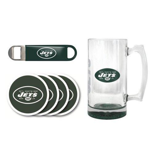 NFL Team Logo Giant Beer Mug Coasters and Bottle Opener Gift Set - 25oz Beer Mug Beverage Set Jets