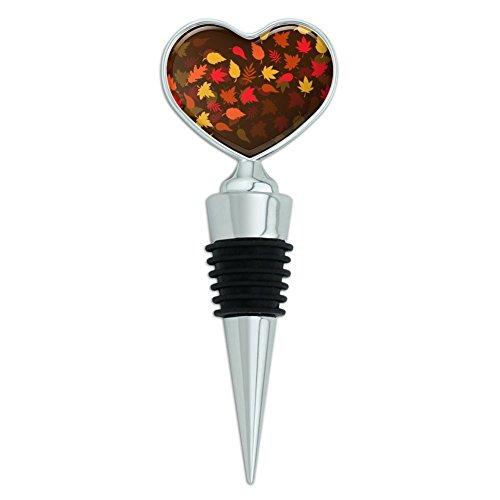 Fall Leaves Autumn Heart Love Wine Bottle Stopper