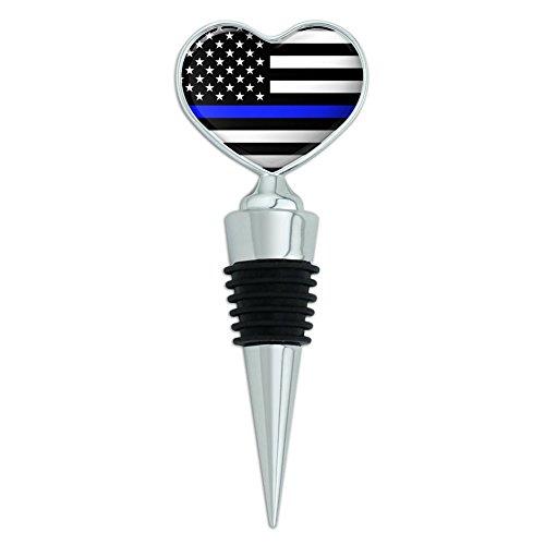 Thin Blue Line American Flag Heart Love Wine Bottle Stopper
