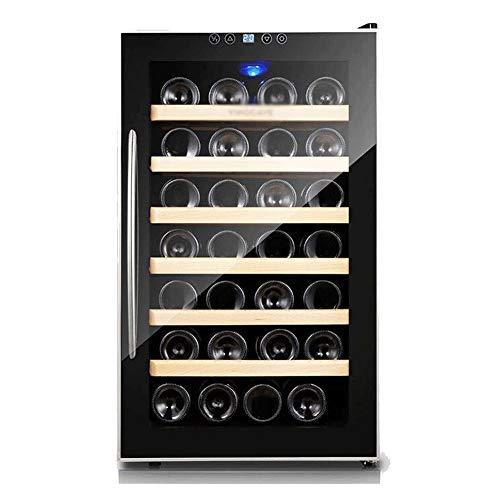 NILINBA Touch Key Wine Cabinet-28 Bottle Thermoelectric Wine CoolerChiller CounterFreestanding Refrigerator Glass Door Quiet Operation Fridge