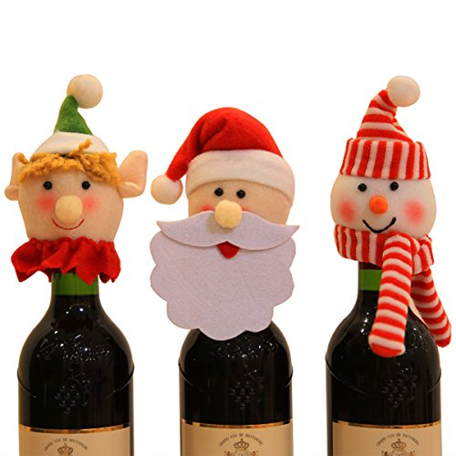 Christmas Wine Bottle Caps Zubita Christmas Wine Bottle Covers Cute Santa Claus Snowman and Sprite for Christmas Home Dinner Party Pub or Gift Decoration Festival Decoration