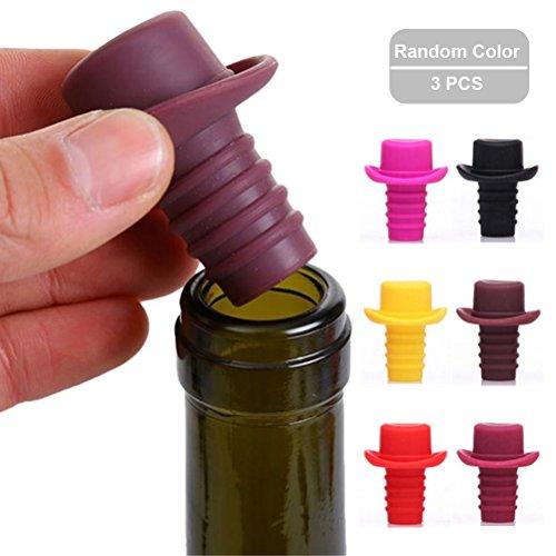 Silicone Wine Stoppers Bottle Stopper Wine Bottle Cork3-Pack in Multi-Color Reusable Wine Bottle CapsBeer Sealer Cover by ShellvcaseRandom Color