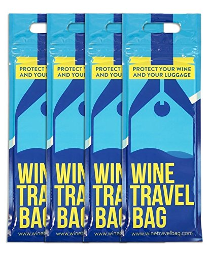Wine Travel Bag - 4 Pack - Safe Wine Bottle Protector Reusable Leak Proof With Thick Padded Material Inside to Protect your Wine 2 x Zip Locks to Avoid Spills Pack in Luggage Suitcase
