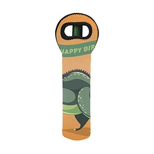 Birthday Decorations Utility Neoprene Wine BagFunny Cartoon Dinosaur Holding Ribbon Birthday Greetings for Home55W x 453W x 1535H