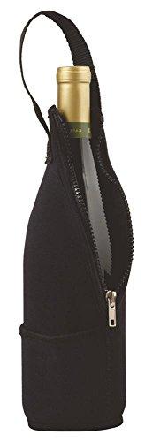 Black Zip-N-Go Neoprene Zippered Wine Bottle Travelers Tote Bag
