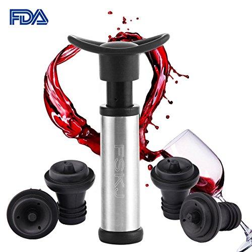 Vacuum Wine Saver Pump with 4 Vacuum Bottle StoppersFood Grade MaterialKeep Wine Fresh