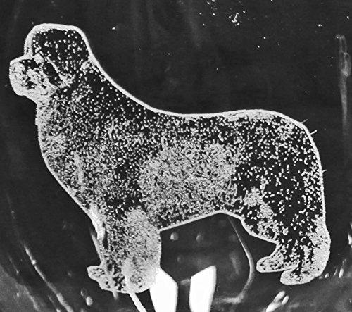 Newfoundland Dog Laser Etched Red Wine Glass Set 2 20RW