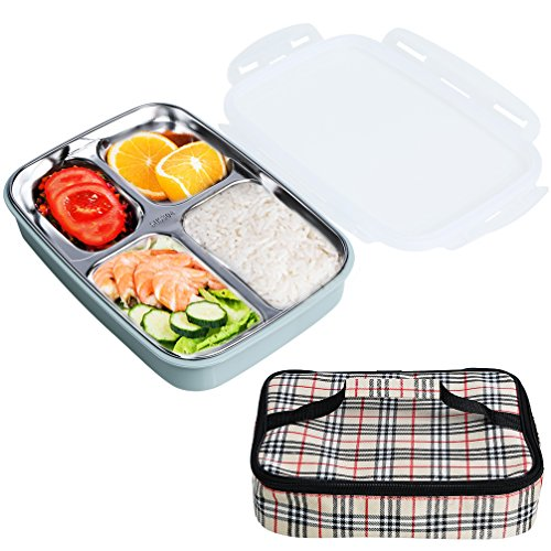 Bento Box for Kids Adults Compartment Stainless Steel Lunch Box for School Picnic Office Microwave Leakproof Food Storage Container with Insulated Carry Bag Blue