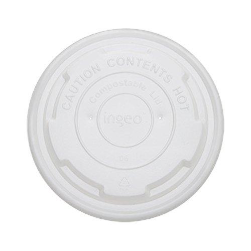 Karat Earth KE-KDL90 8 oz Paper Food Containers Compostable Flat Lids Pack of 1000