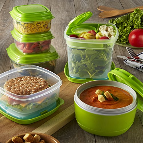 Fit Fresh - Fresh Selects 17-Piece Reusable Container Set Soup Salad and Sandwich Lunch Kit with Removable Ice Packs Portion Control BPA-Free MicrowaveDishwasher Safe