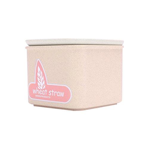 UPSTYLE Wheat Straw Plastic Storage Tank Seal Pot Conister Cereals Storage Box Kitchen Food Storage Cans Crisper Storage Container Size 600ml Beige