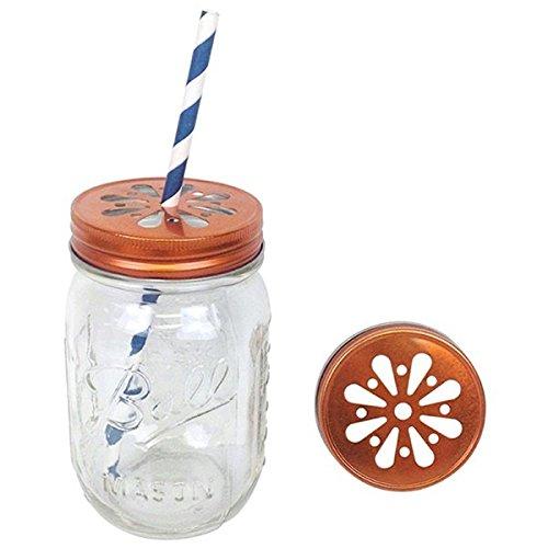 Just Artifacts 16oz Regular Mouth Glass Mason Jars w Daisy Cut Lids – Set of 12 Lid Color Orange