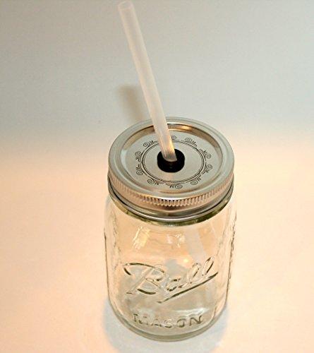 Mason Jar Lid with Reusable Straw turn your mason jar into a glass