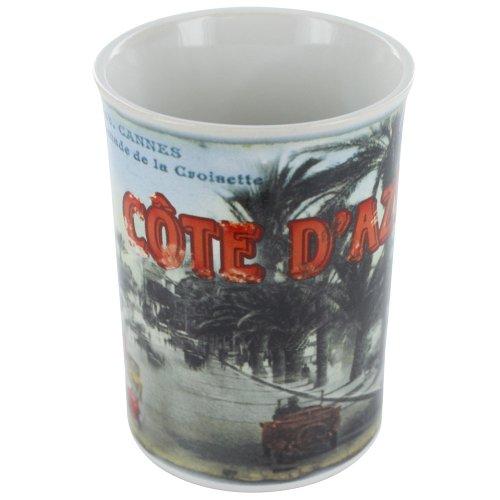 8 oz coffee mug Ceramic French vintage design Cannes Cote dAzur