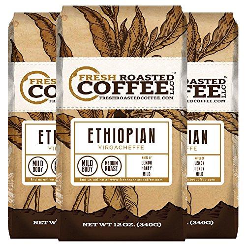 Ethiopian Yirgacheffe Coffee 12 oz Ground Bags Fresh Roasted Coffee LLC 3 Pack