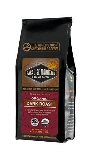 Paradise Mountain Rare Thailand Dark Roast USDA Certified Organic Direct Trade Whole Bean Coffee 16oz