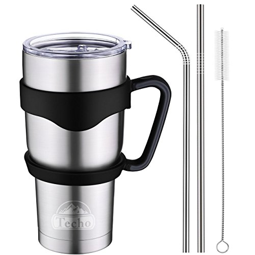 Techo Stainless Steel Insulated Tumbler with Lid and Straws Double Wall Vacuum Cup Coffee Travel Mug for Hot and Cold Drink 30 Oz