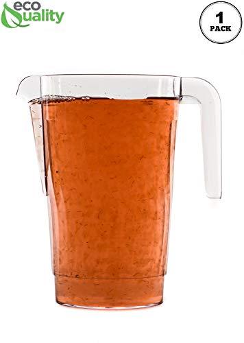 1 PACK 50 oz Crystal Clear Plastic Beverage Pitcher - Break Resistant Beverage Carafe - Great for Restaurants and Catering - Serveware for Water Cold Drinks Beer Lemonade Sangria 50oz