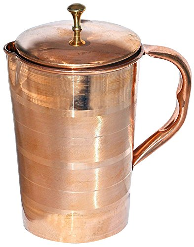 Om Creation Pure Copper Jug with Lid for Health Benefits Indian Drinkware Capacity 16 Litre