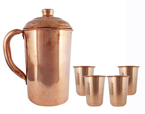 Copper Jug with Set of 4 Tumbler Handmade Glasses Pitcher Tableware Kitchen Utensil