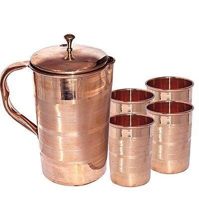 Dadu_creation Copper water Jug Copper pitcher set Copper pitcher with glass Copper jug Set Jug and glass Copper jug Indian Pure copper pitcher Ayurveda Copper Jug with lid Copper water pitcher