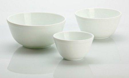 3 Piece Set Handmade White Milk Glass Mixing Nesting Bowls